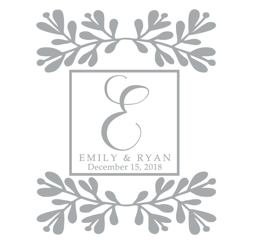 7021 Leaves w/ Monogram Bride & Groom